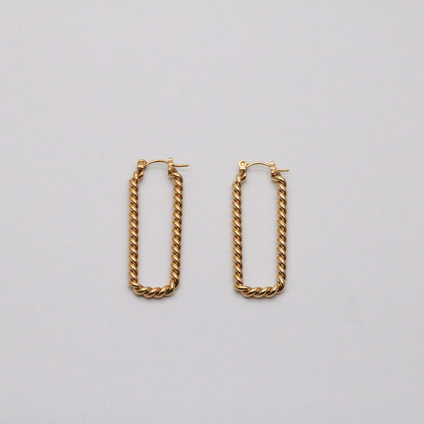 Meideya Jewelry - Arya rope rectangle hoops in gold