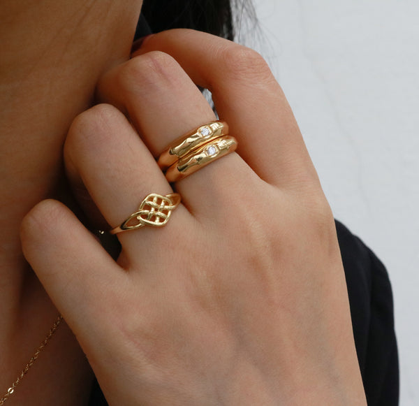18k vermeil gold ring stack