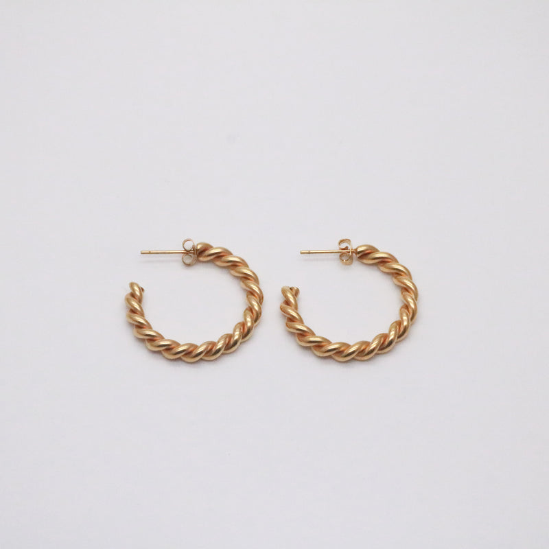 Fleur twist rope hoop earrings