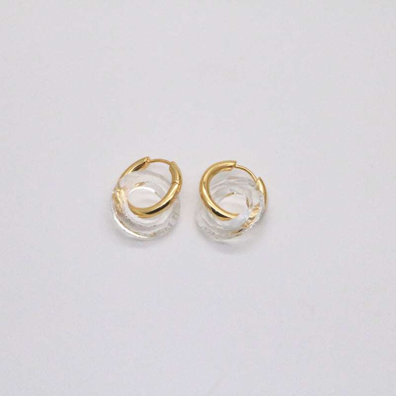 Glass hoop earrings