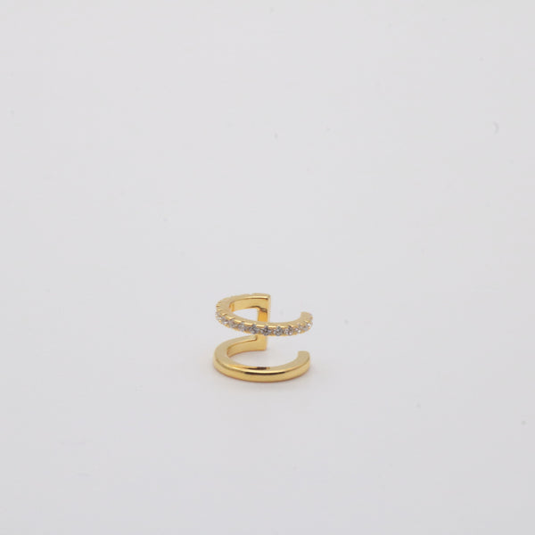 Gold vermeil pave double wire ear cuff