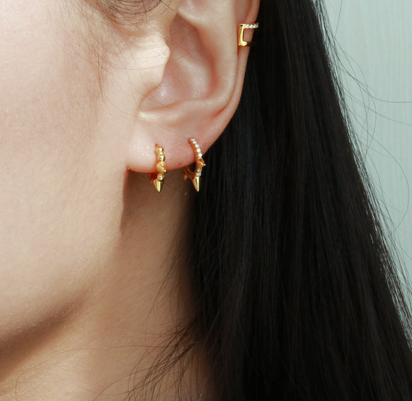 Meideya Jewelry - Spike pave huggie earrings
