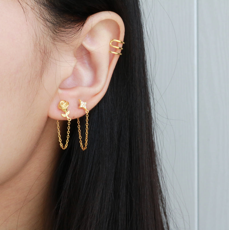 triple wire ear cuff in gold