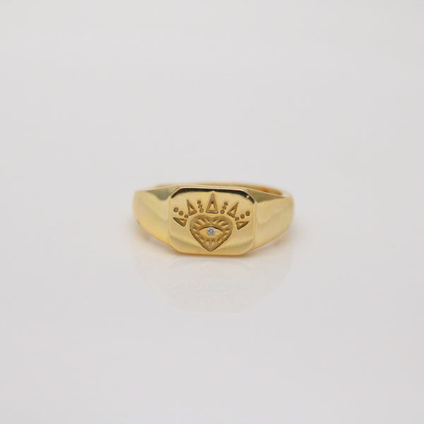 Meideya Jewelry - 18k Gold vermeil signet eye ring