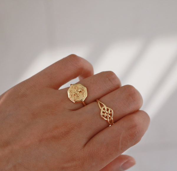 Meideya Jewelry - Gold Adjustable Octagon signet ring