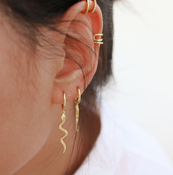 Meideya Jewelry - Serpent hoop earrings