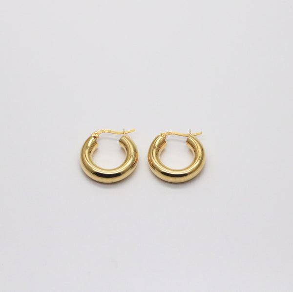 Meideya Jewelry - Gold vermeil classic hollow hoop earrings