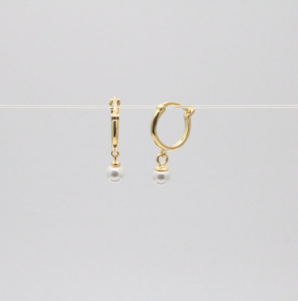 Meideya Jewelry - Pearl hoop earrings
