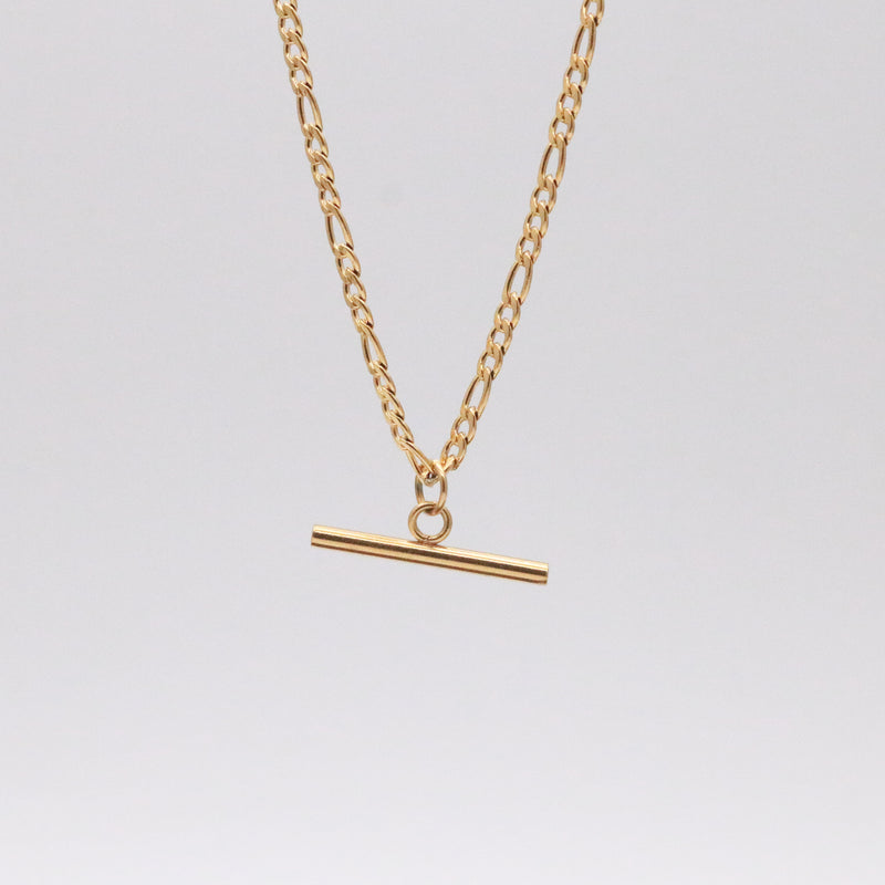 Figaro chain bar pendant necklace in 18k gold plated stainless steel