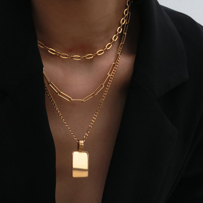 Layered ID tag Necklace set
