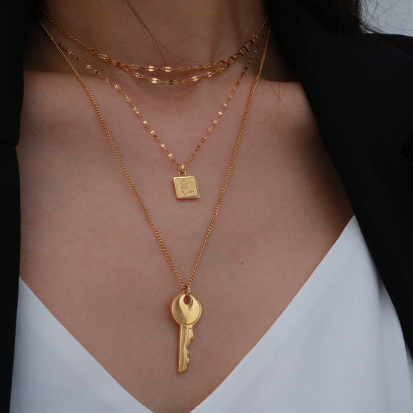 Layered key necklace set