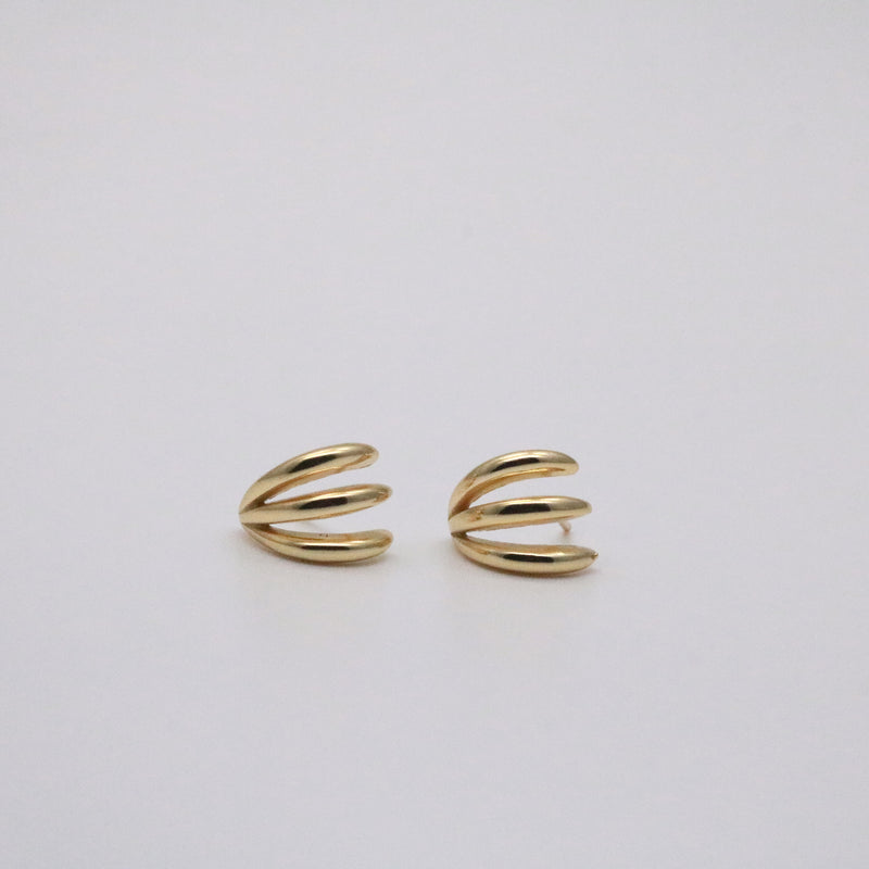 Triple row huggie hoop earrings in 18k gold