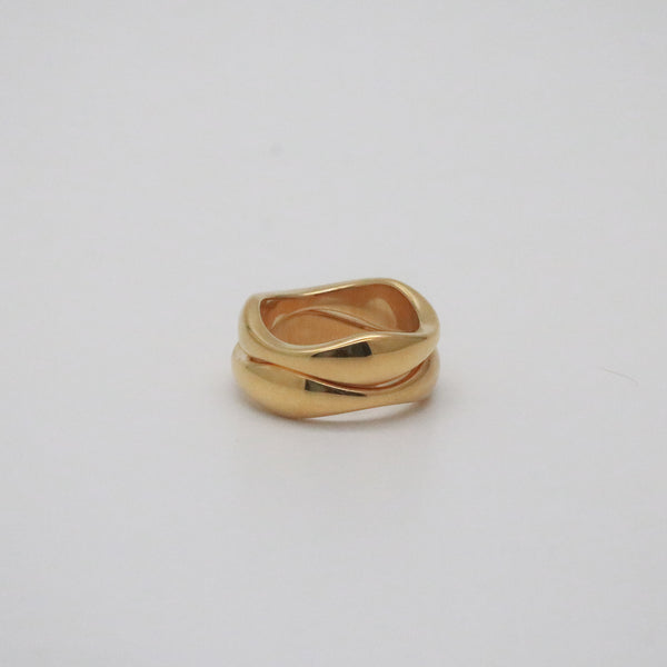 gold wave band ring