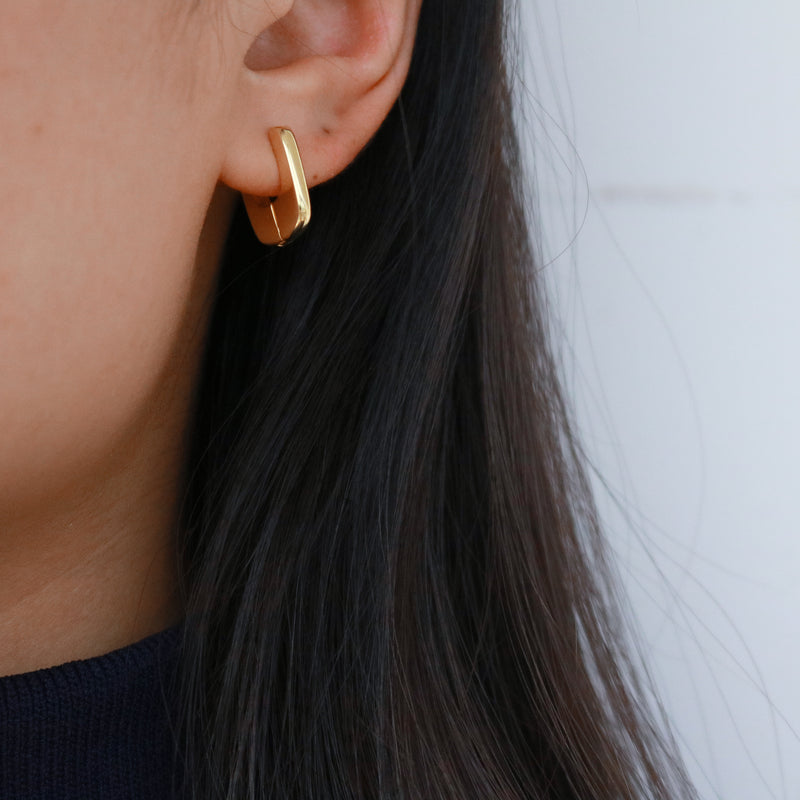 Meideya Jewelry - gold square hoops