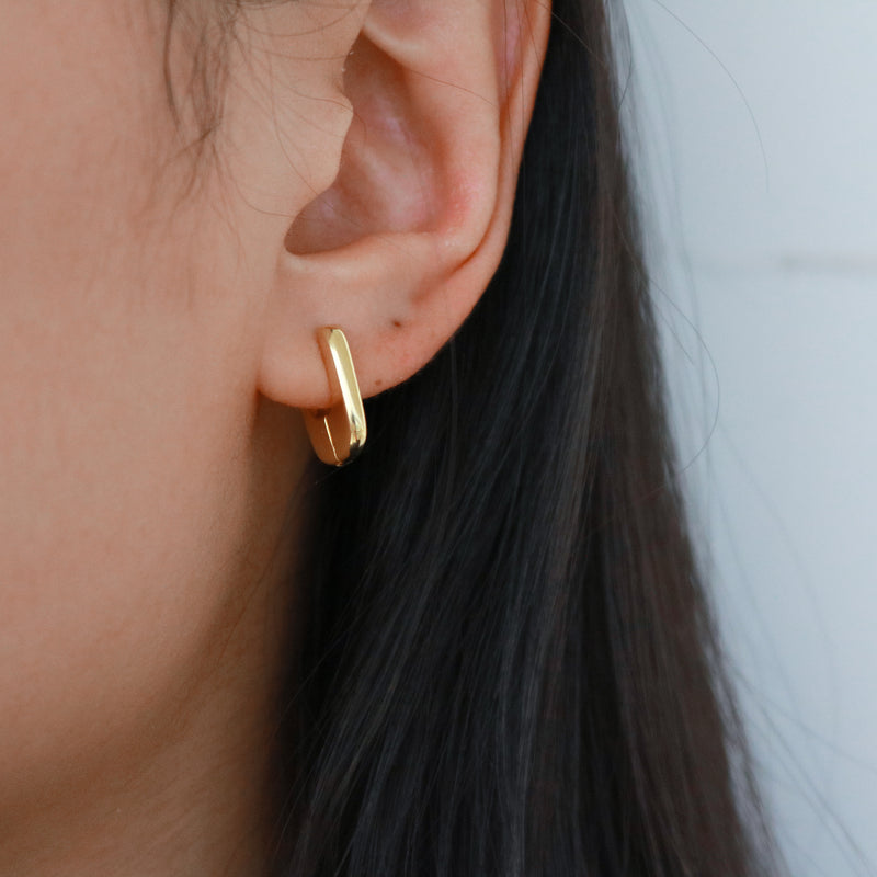 Meideya Jewelry - Gold square hoop earrings