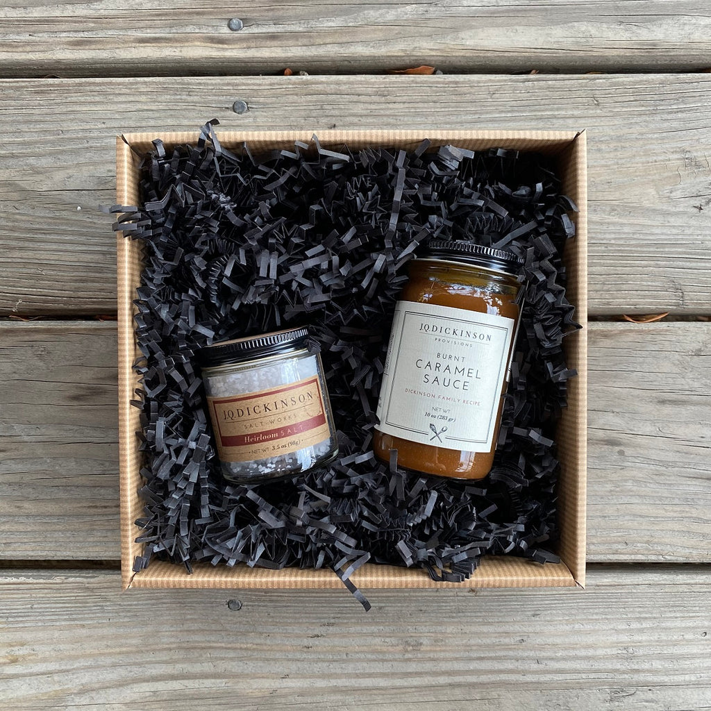 BURNT CARAMEL AND FINISHING SALT GIFT SET: Four Options