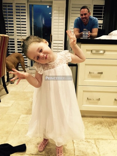 Lace Chiffon Flower Girl Dress with Cap Sleeves
