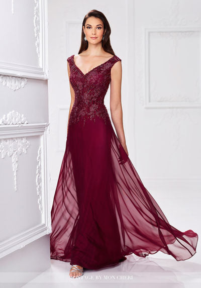 Two-tone chiffon and lace A-line gown with slight cap sleeves