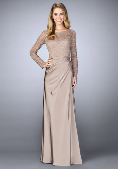 Captivating jersey gown with soft gathers at the waist and beautiful beaded lace bodice