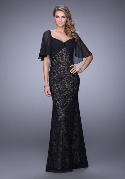 Ravishing lace dress with sweetheart neckline and gemstone center accent