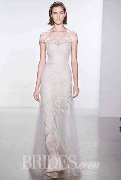 Corded lace sheath wedding dress with an illusion high neckline and cap sleeves, Christos