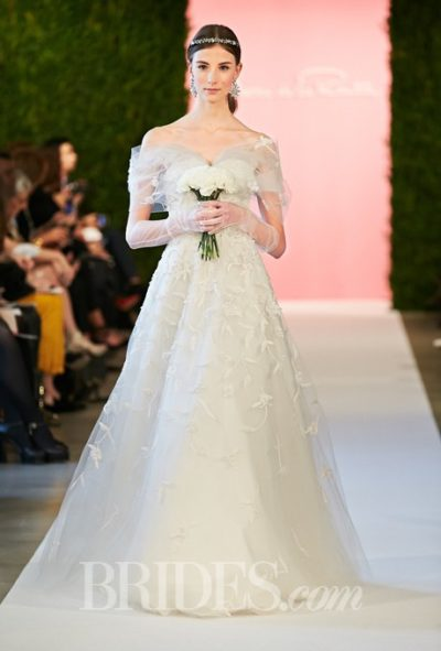Off-the-shoulder tulle A-line wedding dress with taffeta embroidery detail, Oscar de la Renta