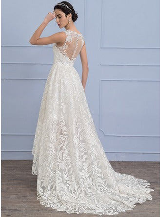 princess scoop neck asymmetrical lace wedding dress