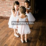 Ivory Lace Cap Sleeves Tulle Flower Girl Dress