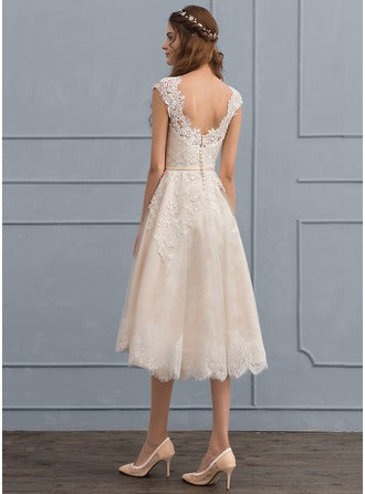 princess scoop neck knee-length tulle lace wedding dress