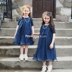 Lace Chiffon Flower Girl Dress with Short Sleeves
