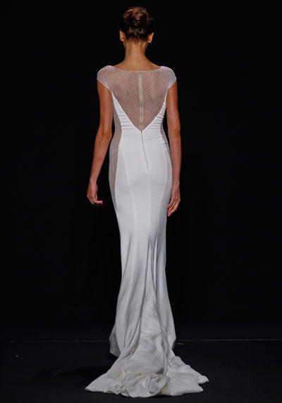 Stretch crepe gown with patterned illusion side panels and back