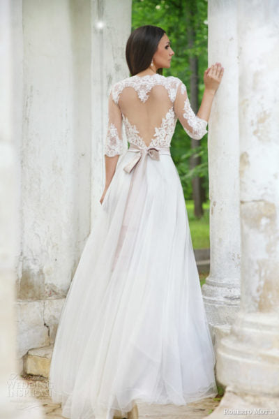 heart shaped back wedding dress