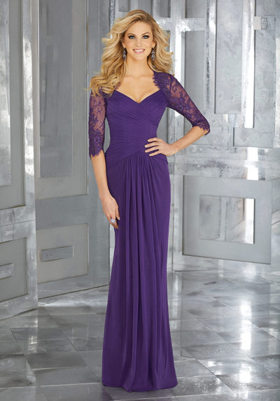 Stretch Mesh Social Occasion Gown with Beaded Lace 3/4 Sleeves