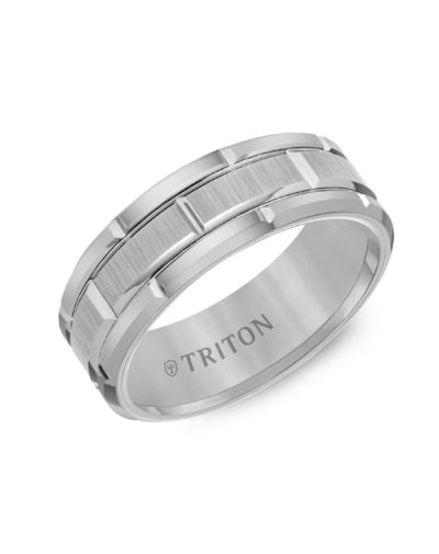 Black Tungsten Carbide Bevel Edge Comfort Fit Band with Vertical Satin Finish Center and Bright Edges and Cuts