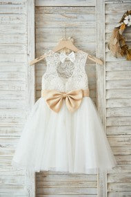 Ivory Lace skirt with Champagne Bow Belt
