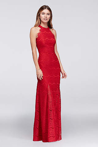 Lace Sheath Halter Long Dress with Scallops