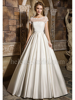 Cap sleeve satin winter ruched top bridal gown