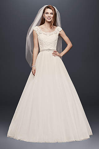 tulle wedding dress with lace illusion neckline