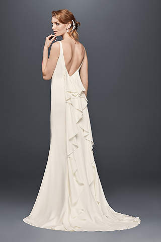 high-neck crepe wedding dress with ruffled back