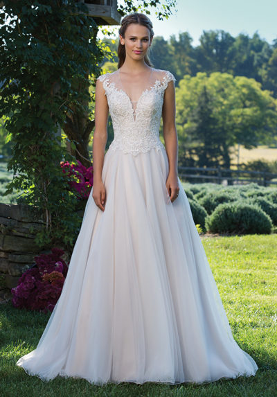 Illusion V-Neck Gown with Corded Lace Cap Sleeves