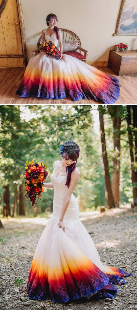 the beautiful flowers that echo the colors of the dress