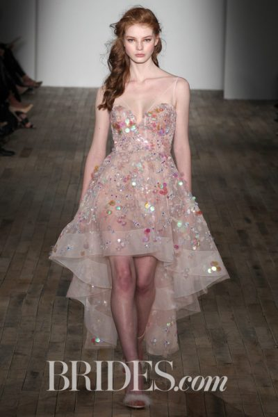 """""""Lucille"""" organza wedding dress with high-low hemline and holographic embellishments by Hayley Paige"""