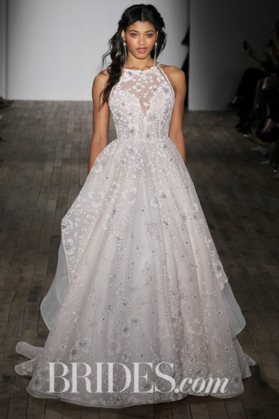 """""""Reagan"""" sandwashed orchid ball gown with layered floral skirt by Hayley Paige"""