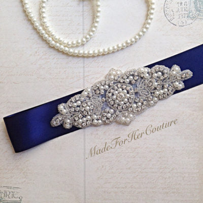 navy bridal sash