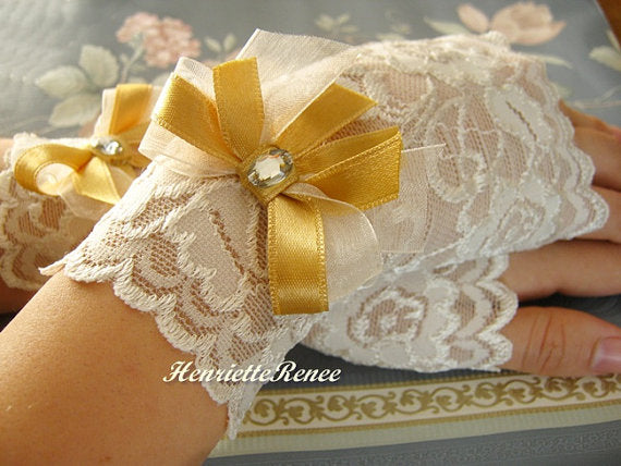 Gold and ivory wedding Gloves