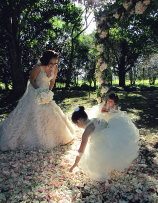 queen anne's lace flower girl dress in ivory
