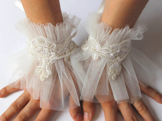 Ivory tulle cuffs