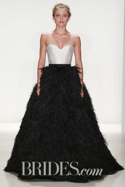Ball gown with black feather skirt and ivory bodice by Kelly Faetanini