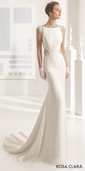 a chic crepe column gown with beautiful neckline