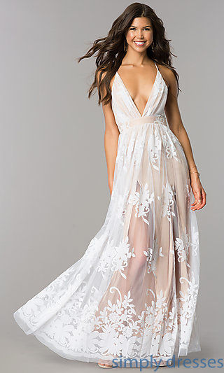 Illusion Long Formal Dress with Low V-Neck and Slits